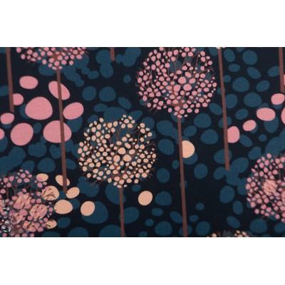 French terry brossé dandelion Dots  MeganBlue fleur graphique mode femme