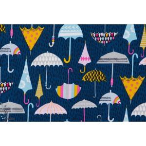 Popeline COTON DASHWOOD STUDIO Rain or Shine 1097 parapluies fond marine