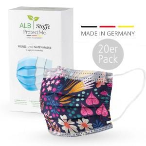 Masque chirurgical - Design FLOWER Bliss Bleu - Pack 20s