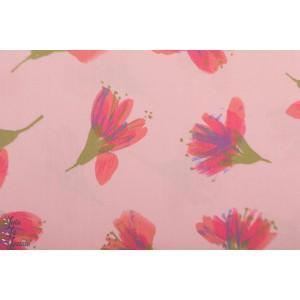 Popeline Rico Rose fleurs aquarelle