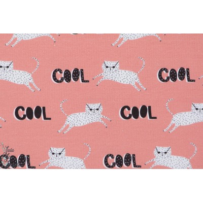 Jersey Bio Cool Cat lillestoff enfant fille rose chat