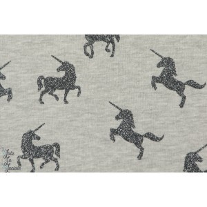 Tissu sweat molleton jogging Licorne fond gris paillette