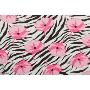 Viscose black and Pink Zebra Poppy