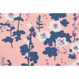 Jersey AGF roses trèmières fleur rose coton art gallery fabric