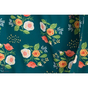 Popeline Bio Bouquet on Teal  from Vintage 74  By Monaluna Fabrics