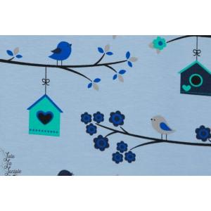 jersey Oiseaux sur la branche fond bleu