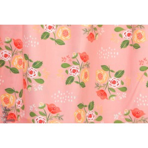 Popeline Bouquet Pink from Vintage 74  By Monaluna Fabrics