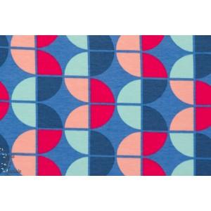 tissu coton Jersey Vicente bleu/rose géométrique
