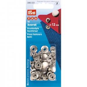 reassort bouton pression 12mm argent 390331