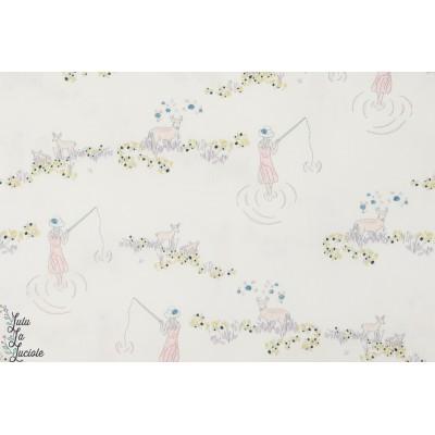 tissu coton Popeline pèche au petit jour AGF art gallery fabrics