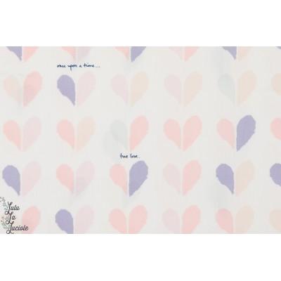 tissu coton Popeline Happy coeur rose agf art gallery doux pastel
