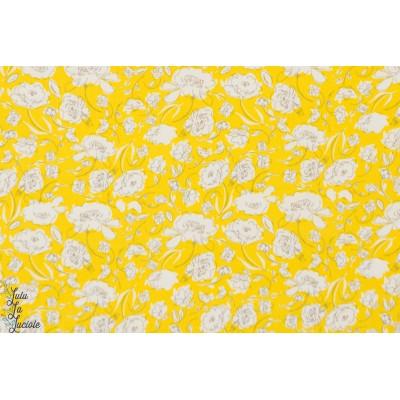 tissu coton Popeline AGF Floraison jaune art gallery fabric