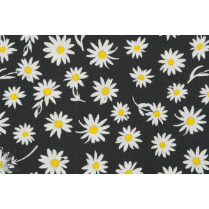 tissu coton liberty Popeline AGF Paquerette fleur noir art gallery fabric
