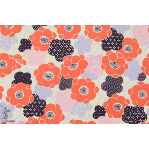 tissu coton Popeline KIKI UME fleur japon alexander henry indochine