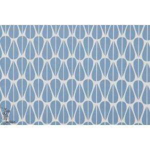 tissu coton Popeline Bio Little Leaves petite feuille bleu géométrique monaluna