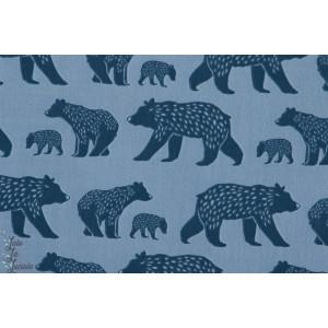 tissu coton Popeline Bio Bear Family ours bleu monaluna