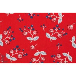 tissu coton Popeline Bio Sprig - brin d'herbe monaluna rouge