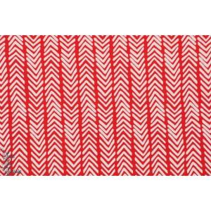 tissu coton Popeline Bio Herringbone rouge géométrique monaluna