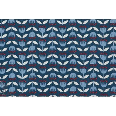 tissu coton Popeline Bio Blue Tulip fleur géométrique monaluna