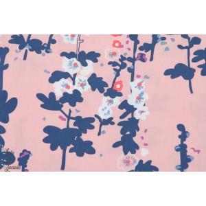 tissu Popeline coton AGF Roses trèmiéres fleur art gallery fabric