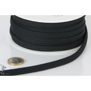 Cordon capuche plat 10 mm au mètre noir