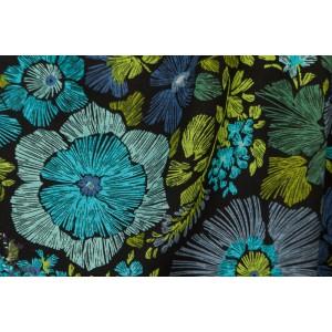 Jersey polyester fleur bleu et vert
