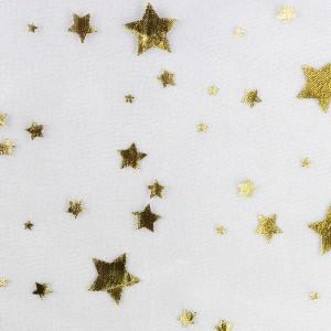 TULLE organza blanc étoile or