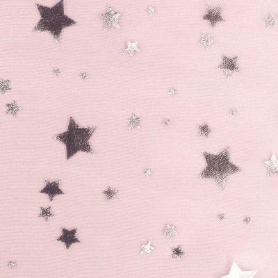 TULLE organza rose étoile argent