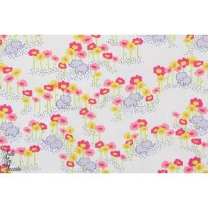 tissu coton enfant blend Popeline Pygmy Elephants Pink fleur nature