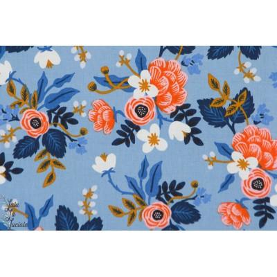 tissu coton Popeline  Birch Periwinkle fond bleu cotton steel