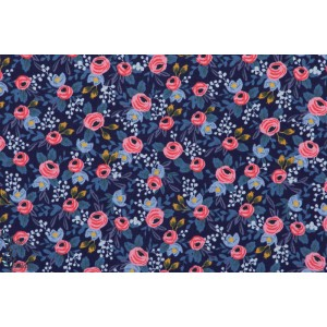 tissu coton liberty Popeline Rosa Navy rose fleur cotton steel