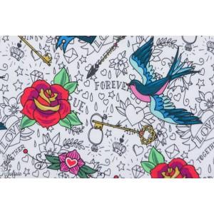tissu couture coton Jersey Stenzo Rockabilly bio femme rock oiseau tatouage