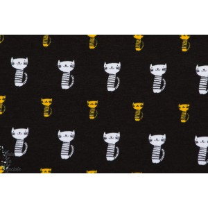Jersey Chats blanc et jaune / noir géométrique stenzo