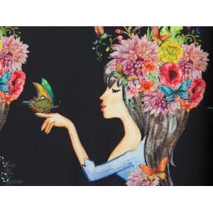Jersey Stenzo femme romantique noir panneau digital femme papillon