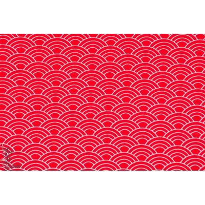 Jersey bio Stenzo vagues rouge géométrique graphique wasabi japon femme