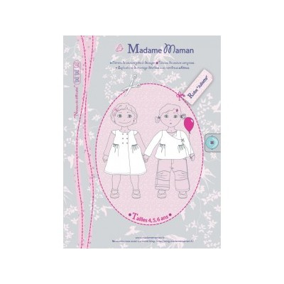 Patron couture fille robe Juliette 4-5-6 ans madame maman