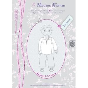 Patron couture chemise haut tunique  TOP WILLIAM 2-3-4 ans garçon enfant madame maman