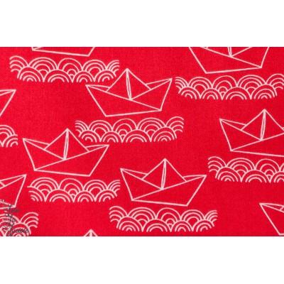 coton imprimé AHOY MATEY-Bateaux en Papier Rouge