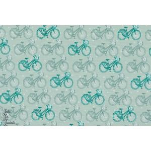 Modal Flowerbike vélo fleuris lillestoff jersey viscose menthe vert
