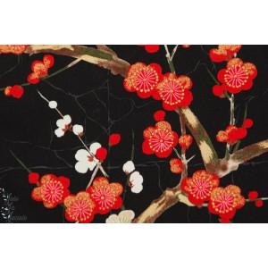 Popeline Golden garden en noir jardçn japonais fleur indochine alexandre henry coon métalique