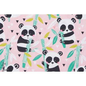 Popeline coton couture fille Panda bambou rose blend
