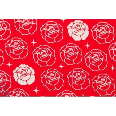 Popeline coton  Bio Stamped Rose Rouge birch fabric géométrique