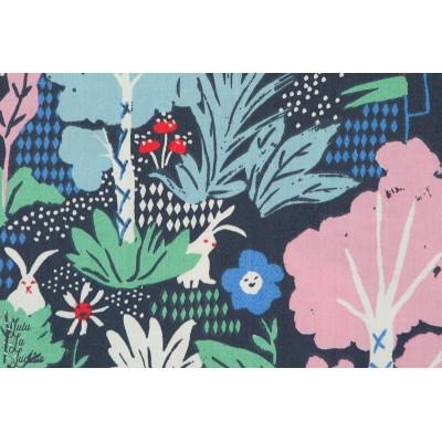 Popeline coton Bio Wonderland Birch alice au pays des merveilles bleu