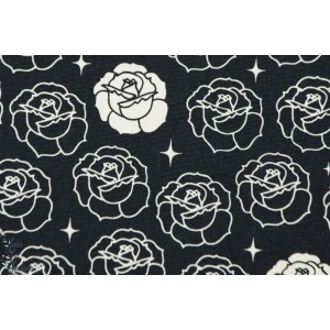 Coton Bio imprimé Stamped rose bleu