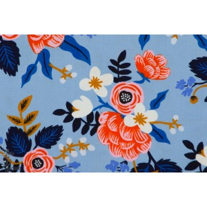 Viscose Birch Floral Periwinkle
