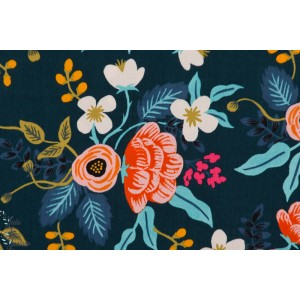 Viscose Birch Floral Navy  bleu marine fleur riffle paper co cotton steel