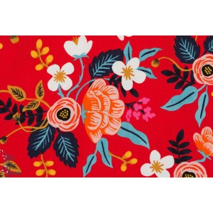 Viscose  rayon Birch Floral Enamel rouge fleur rifle paper and co Cotton steel Fabric couture mode femme