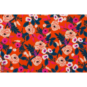 Viscose Paint Roses Orange