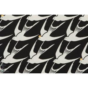 tissu coton Popeline Flock Metallic hirondelle oiseau or brille couronne, cotton steel