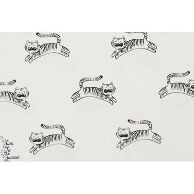 tissu coton Popeline Big Roar White tigre cotton steel blanc